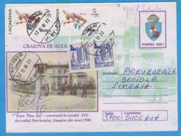 ENTIERS POSTAUX, POSTAL STATIONERY, CRAIOVA, OVERPRINT STAMP  ROMANIA 2000 - Postal Stationery