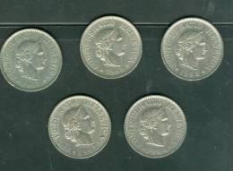 Suisse Lot 5 Pieces 10 Rappen Année  , 1965 , 1968,1964, 1962, 1967 - Laura8809 - Suisse