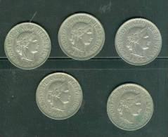 Suisse Lot 5 Pieces 10 Rappen Année  , 1959 , 1962,1964, 1970, 1968 - Laura90 - Suisse
