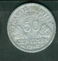 Pièce Monnaie - 50 CENTIMES FRANCS ETAT Français 1942  - Laura9208 - Francia