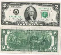 U.S.A. 1976 - Banconota Two Dollars Serie B 01095776  Circolata (DUE DOLLARI) - Billets De La Federal Reserve (1928-...)