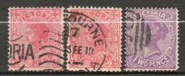 AUSTRALIE (Victoria)   1906-08 N°142-142a-144 - Used Stamps