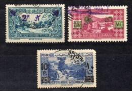 Lebanon 1943/45 / Mi 261 , 263 , 266 - Overprint New Value - Used (o) - Liban
