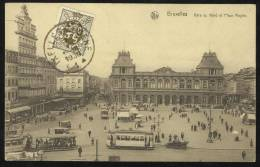 BELGIQUE 1930 Brusseles Gare Du Nord Et La Place Rogier, Scène De Rue, Tram - Chemins De Fer, Gares