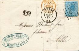 690/20 - Lettre TP 18 Losange De Points 408 YPRES 1867 Vers LILLE - TARIF FRONTALIER - 1865-1866 Profilo Sinistro