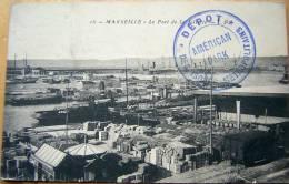 Cachet Dépôt Des Isolés Métropolitains, Américan Park Sur Cpa Marseille 1916 - Guerra Del 1914-18