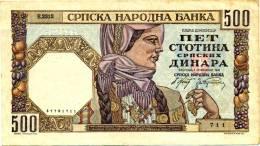 1941, SERBIA, 500 Dinara, 1.11.1941 - **RARE** German Occupation W.W.II  - SEE PHOTO FOR DETAILS - Serbia