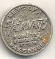 KEYS OF A FAIRWAYS PASSENGER RARE MEDAILLE BUENOS AIRES CIRCA 1960 - Tokens & Medals