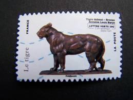 FRANCE OBLITERE 2013 N° 779 LE TIGRE DEBOUT BRONZE ANTOINE LOUIS BARYE SERIE LES ANIMAUX DANS L´ART AUTOCOLLANT ADHESIF - France