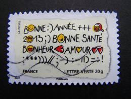 FRANCE OBLITERE 2012 N° 763  BONNE ANNEE SANTE BONHEUR AMOUR  SERIE MEILLEURS VOEUX AUTOCOLLANT ADHESIF - France