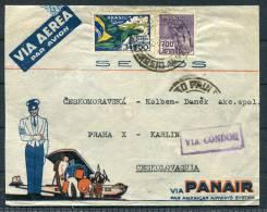 1937 Brazil - Prague Czechoslovakia Panair Condor Luftpost Flight Cover - Luchtpost