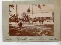 """Photo Albuminé 1899  Cusy  Savoie  """" Une Halte Au Village Caleche Hippomobile """" - Luoghi"""