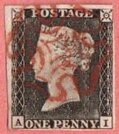 GBR SC #1  1840 Queen Victoria (A,I)  W/red MC  3 Margins  W/lt. Backside Crs @ LR, CV $390.00 - 1840-1901 (Victoria)