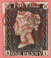 GBR SC #1  1840 Queen Victoria (A,I)  W/red MC  3 Margins  W/lt. Backside Crs @ LR, CV $390.00 - Used Stamps