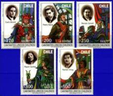CHILE, 1997, SINGERS LYRICS, YV#1430-34, MNH - Chile