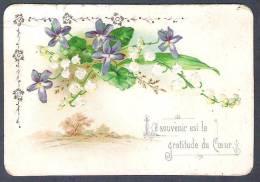 """CHROMO GAUFREE FLEURS DE VIOLETTES ET BRINS DE MUGUET - PAYSAGE """"LE SOUVENIR EST LA GRATITUDE DU COEUR"""" TBE - Fleurs, Plantes & Arbres"""