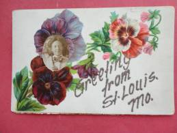 Embossed Floral With Photo Insert -- St Louis – Missouri ===            ==  Ref 878 - St Louis – Missouri