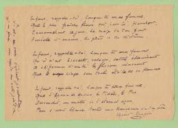 ELZEARD ROUGIER (1857-1926), Poète, Peintre. POEME AUTOGRAPHE. - Autographes