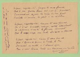 ELZEARD ROUGIER (1857-1926), Poète, Peintre. POEME AUTOGRAPHE. - Autogramme & Autographen
