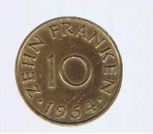 SAARLAND - 10 Franken 1954  KM10 - [ 8] Saarland - Sarre