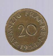 SAARLAND -  20 Franken 1954  KM2 - [ 8] Saarland - Sarre
