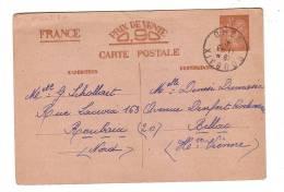Entier Postal Iris Roubaix Nord 1941 Bellac Haute-Vienne - Entiers Postaux