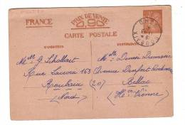 Entier Postal Iris Roubaix Nord 1941 Bellac Haute-Vienne - Enteros Postales