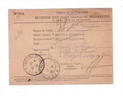 Récipissé D'un Objet Chargé Ou Recommandé Trésor Et Poste 32 Première Guerre Mondiale  Puy De Dôme 1915 - France