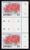 Jamaica MNH Scott #709 Vertical Gutter Pair $4 Broughtonia Sanguinea (flower) - Christmas - Jamaique (1962-...)