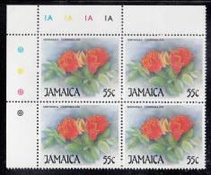 Jamaica MNH Scott #707 Upper Left Inscription Block 55c Spathodea Campanulata (flower) - Christmas - Jamaique (1962-...)