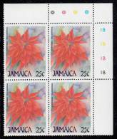 Jamaica MNH Scott #706 Upper Right Inscription Block 25c Euphorbia Pulcherrima (flower) - Christmas - Jamaique (1962-...)