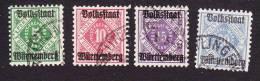 Wurttemberg, Scott # O45, O47-O49, Used, Numbers Overprinted, Issued 1919 - Wurttemberg