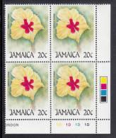 Jamaica MNH Scott #675 Lower Right Inscription Block 20c Hibiscus Hybrid (flower) - Christmas - Jamaique (1962-...)