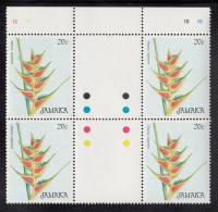 Jamaica MNH Scott #635 Gutter Block Of 4 20c Heliconia Wagneriana (flower) - Christmas - Jamaique (1962-...)