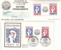 LOT DE : 1 ENVELOPPE FDC 1er JOUR DE 1982 BLOC PHILEX FRANCE 82 + 1 BLOC PHILEX FRANCE 82 +1 ENTREE PERMANENTE - 1980-1989