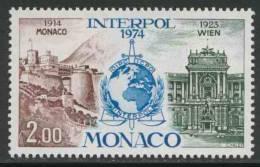 Monaco 1974 Mi 1123 YT 966 ** Interpol Emblem + Views Of Monaco And Vienna / Geplanten Gründung Von Interpol In Monaco - Treinen