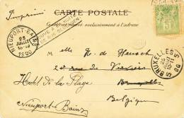 694/20 - Carte-Vue France Pic Du Midi TP Sage 1900 Vers BRUXELLES - Griffe TROUVE A LA BOITE Vers NIEUPORT BAINS - Poststempel
