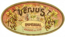 Ancienne Etiquette VERJUS - IMPERIAL - Médaille D'Or Liège 1930 - Raisins Au Vin - Belgio