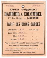 BARBIER & COLOMBEL Carton Tarif Des Crins Cardés 10 X 13 Env. 1935 Libourne (33) - France