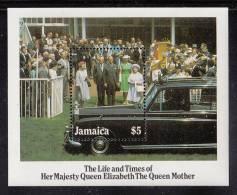 Jamaica MNH Scott #603 Souvenir Sheet $5 Queen Mother, Royals, Limousine - Queen Mother's 85th Birthday - Jamaique (1962-...)