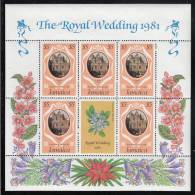 Jamaica MNH Scott #503 Sheet Of 5 Plus Label $5 St. James´s Palace - Royal Wedding Charles And Diana - Jamaique (1962-...)