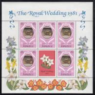 Jamaica MNH Scott #501 Sheet Of 5 Plus Label 45c Royal Coach - Royal Wedding Charles And Diana - Jamaique (1962-...)