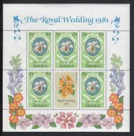 Jamaica MNH Scott #500 Sheet Of 5 Plus Label 20c White Orchid - Royal Wedding Charles And Diana - Jamaique (1962-...)