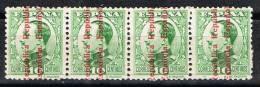 Tira De 4 Sellos 10 Cts Alfonso XIII, VARIEDAD Linea Al Pie, Num 595 ** - 1889-1931 Reino: Alfonso XIII