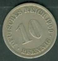 ALLEMAGNE 10 PFENNIG 1900 D  - Pia0204 - [ 2] 1871-1918: Deutsches Kaiserreich