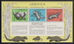 Jamaica MH Scott #368a Souvenir Sheet Of 3 Different Mongoose - Centenary Of Introduction To Jamaica - Jamaique (1962-...)