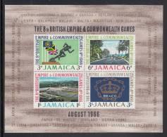 Jamaica MH Scott #257a Souvenir Sheet Of 4 Runner, Cyclists, Stadium, Emblem - 1966 Commonwealth Games - Jamaique (1962-...)