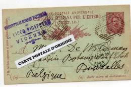 VICENZA (ITALIE) - CARTE POSTALE SANS ILLUSTRATION -TIMBRE IMPRIME HUMBERT 1er 10C - GABINETTO DI SCIENZE NATURALIA - 1878-00 Umberto I