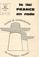 Paquebot France Journal De Greve Pages Ecrites Du 24 09 1974 - Boats