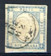 Prov Napoletane, 1861, Sassone N. 20 Azzurro , 2 Grana Usato - 1861-78 Vittorio Emanuele II